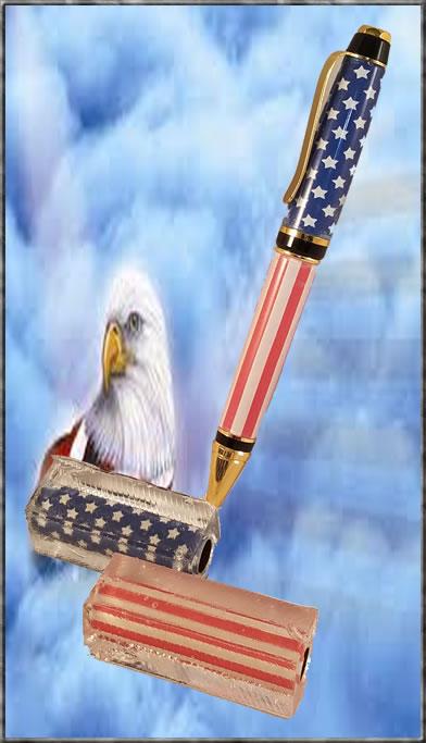 US Flag Poly Blank for Cigar Pen Kit