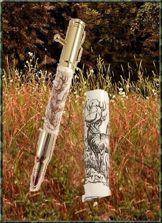 Laser Scrimshaw Deer Blank & Bolt Action Pen Kit Set