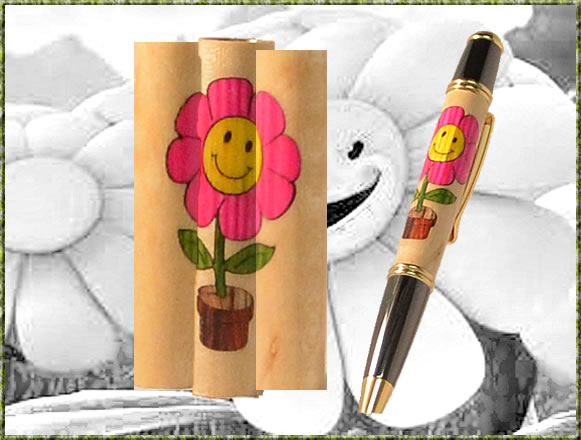 Happy Flower In Pot Inlay