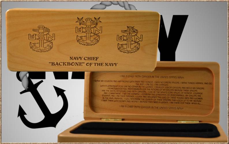 Navy CPO Engraved Box w/ Inserts